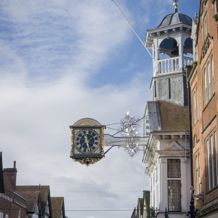 Clock on the Town Hall in High Street, Guildford Surrey, UK